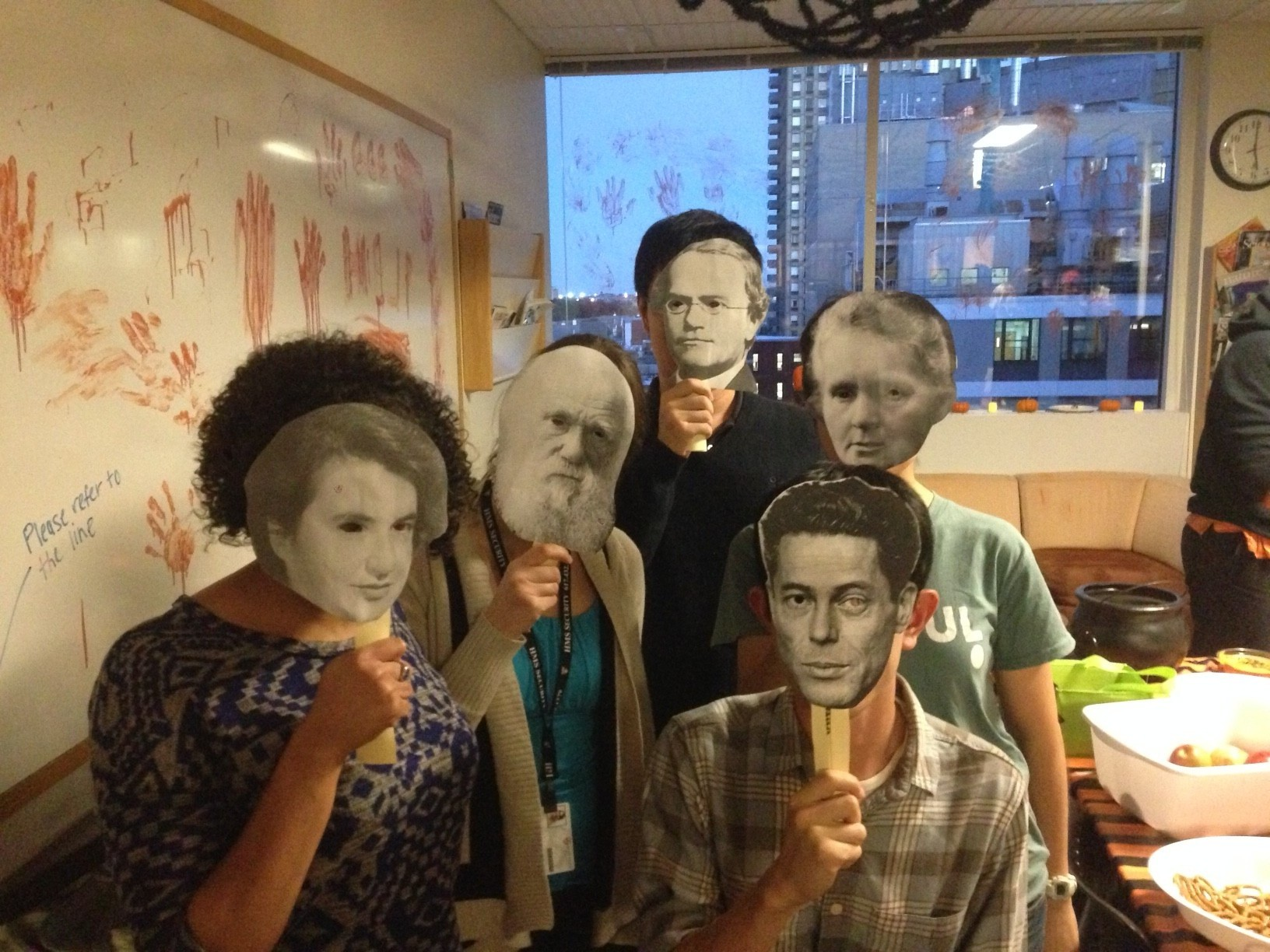 The Springer lab ghosts of scientists past. Left to right: Rosalind Franklin, Charles Darwin, Gregor Mendel, Jacques Monod, and Marie Curie